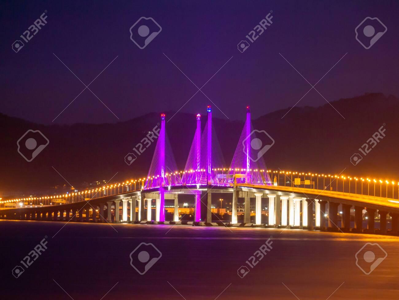 Penang Second Bridge with purple lighting in dawn hour. - 143081531