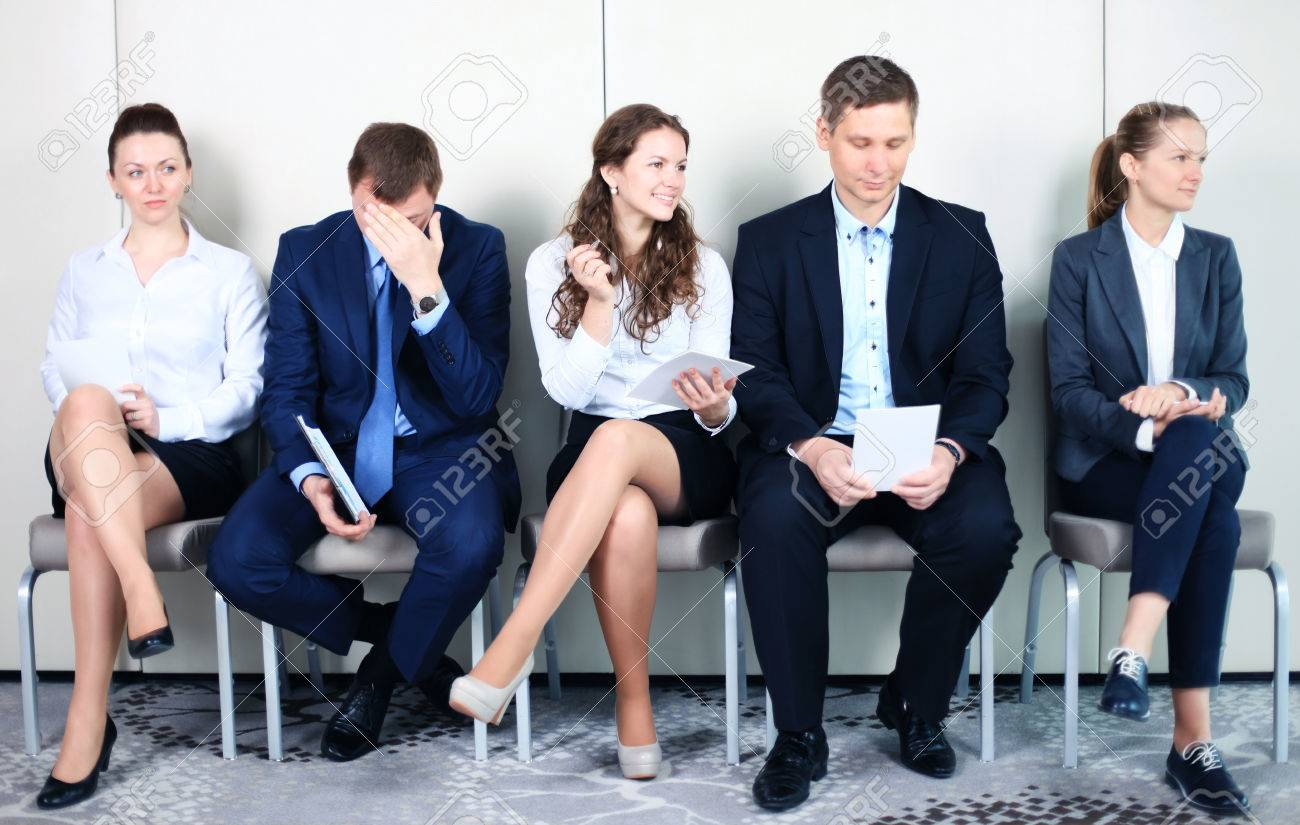 Business people waiting for job interview. Five candidates competing for one position - 40549425