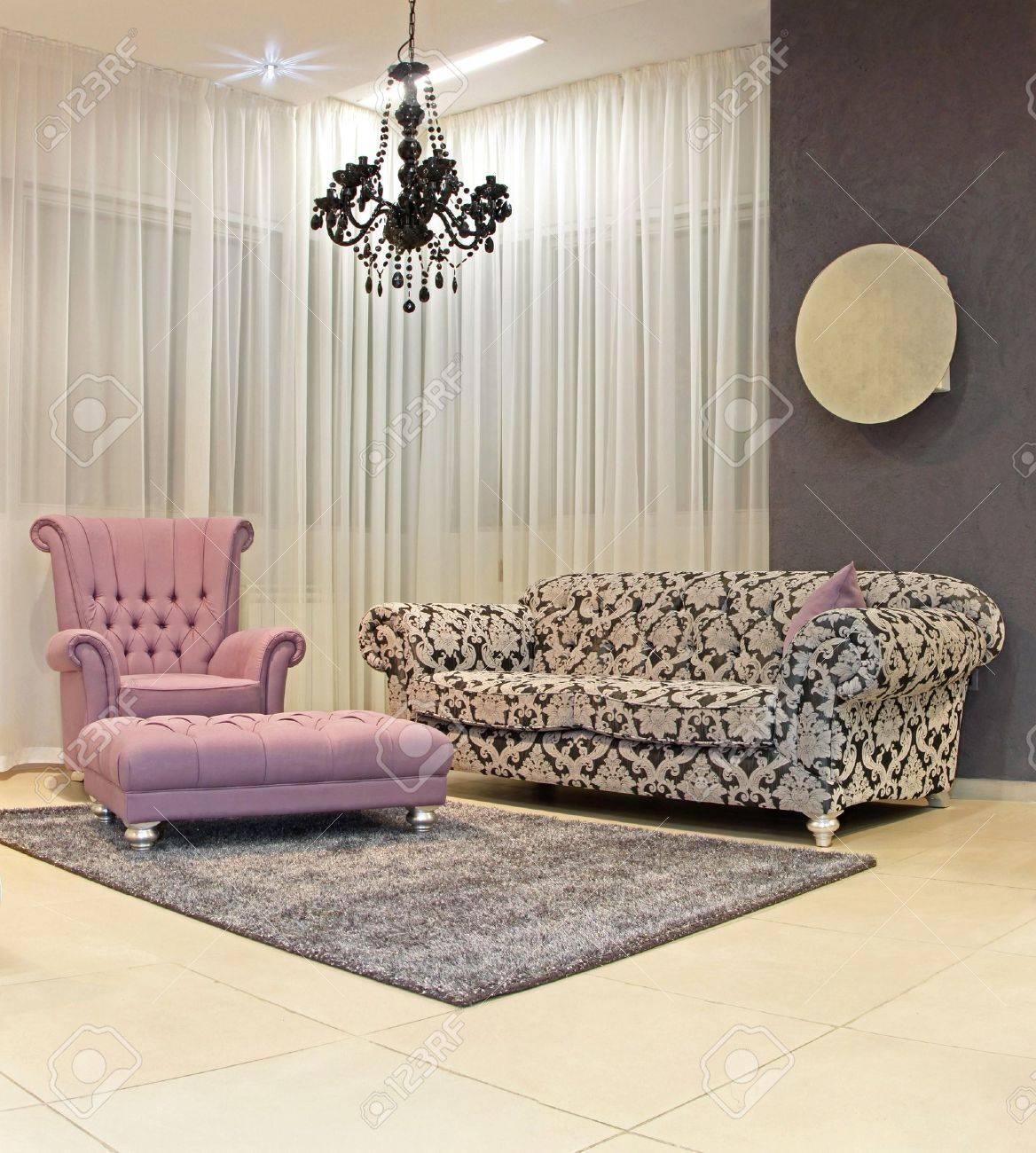 Modern Living Room Corner With Vintage Furniture Stock Photo