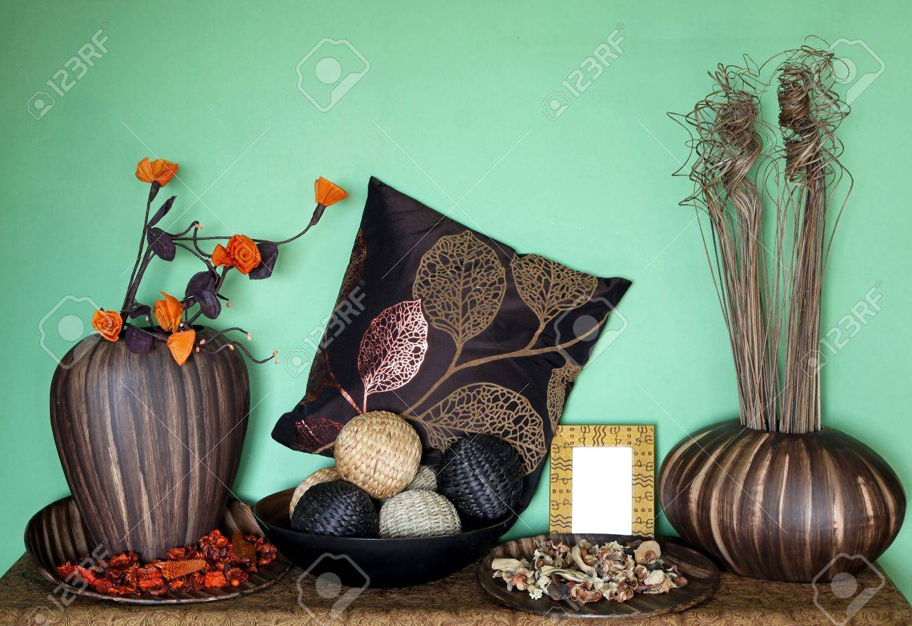 Large set of home decor accessories with flower decoration Stock Photo - 12120328