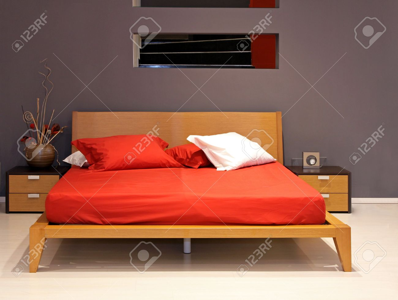 Minimalistic double bed in modern bedroom interior Stock Photo - 12149713