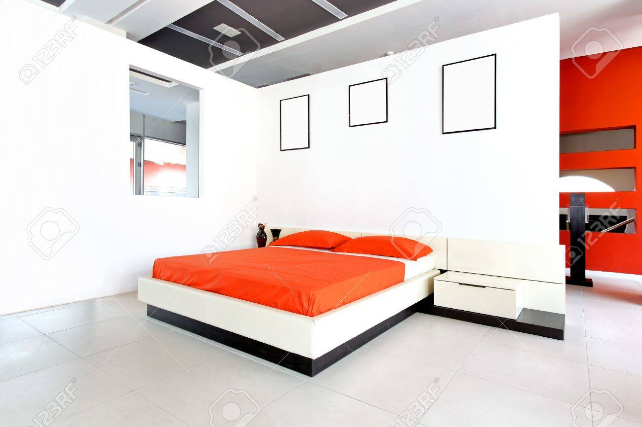 Modern Bedroom Interior Modern Bedroom Interior With White Walls And Minimalistic
