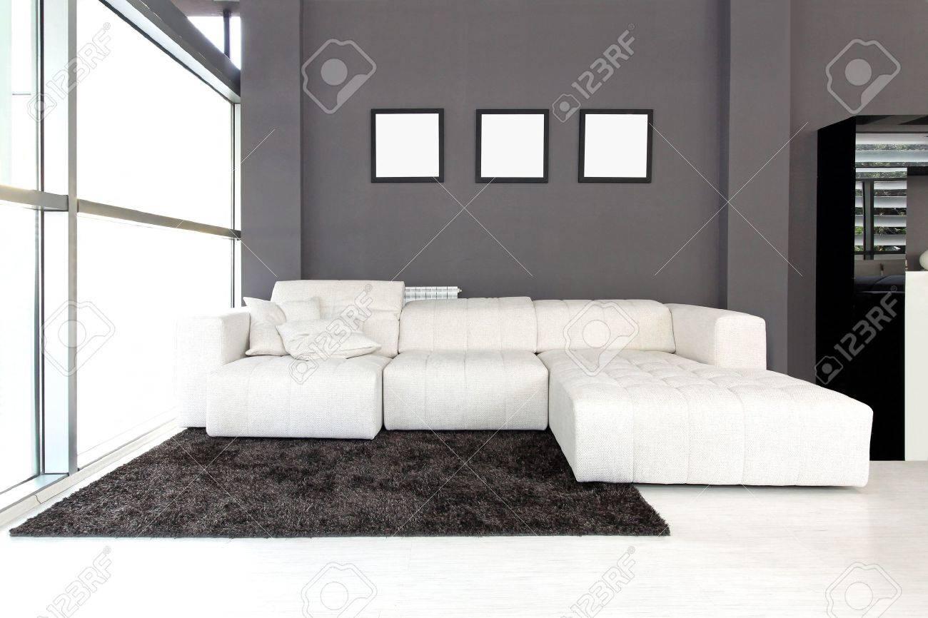 Modern White Furniture For Living Room Modern Living Room Interior With White Furniture Stock Photo