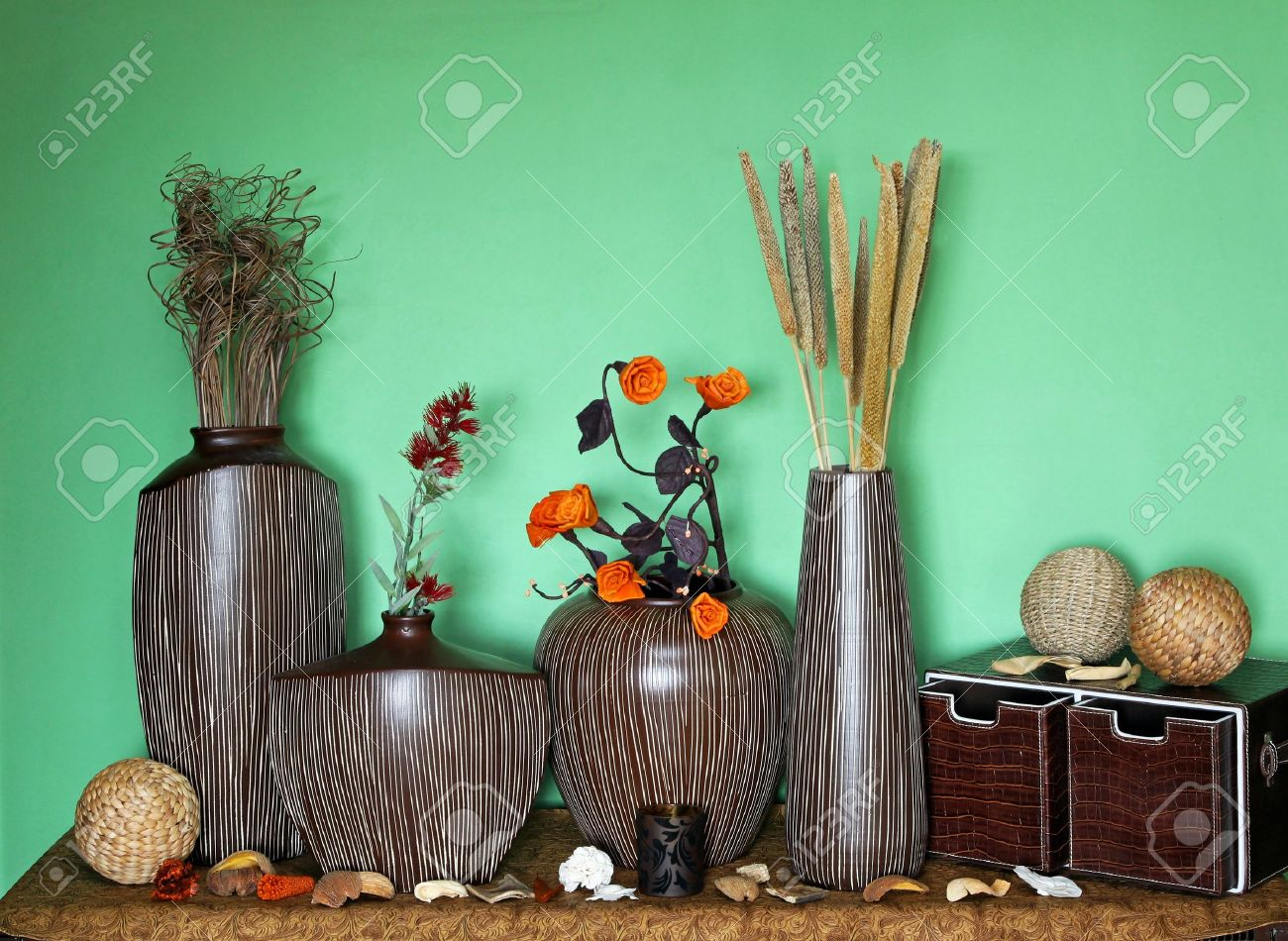 large set of home decor accessories with flower decoration stock photo 14857487 - Home Decor Accessories