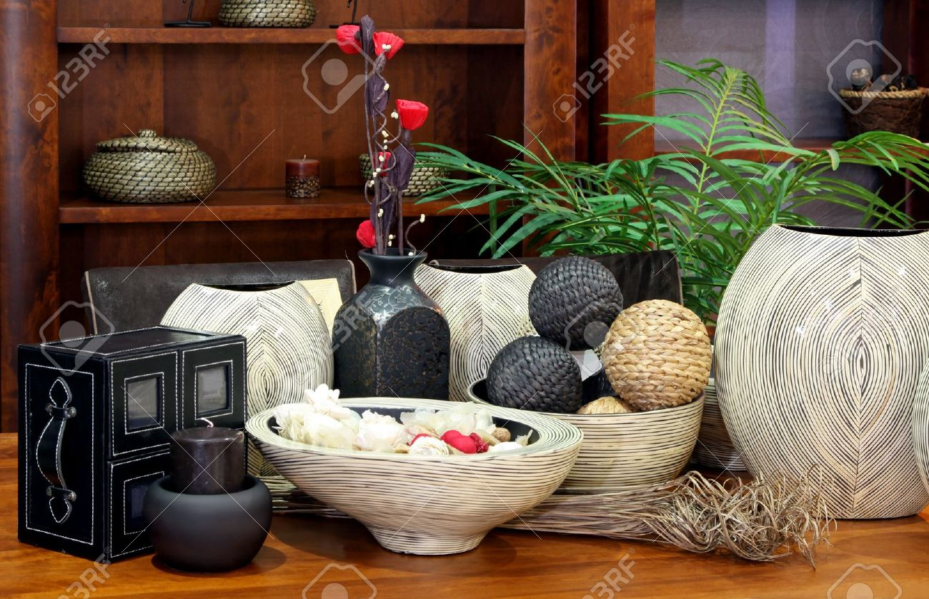home decor large set of rattan home decor ornaments stock photo