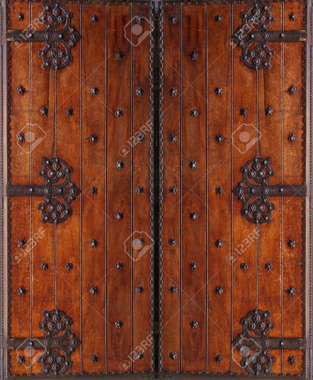 Antique style wooden double folding entrance door Stock Photo - 15565494 - Antique Style Wooden Double Folding Entrance Door Stock Photo