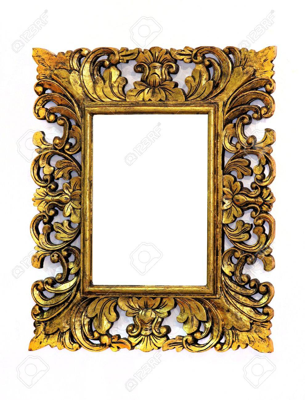 gold square baroque frame on white wall stock photo 16882478