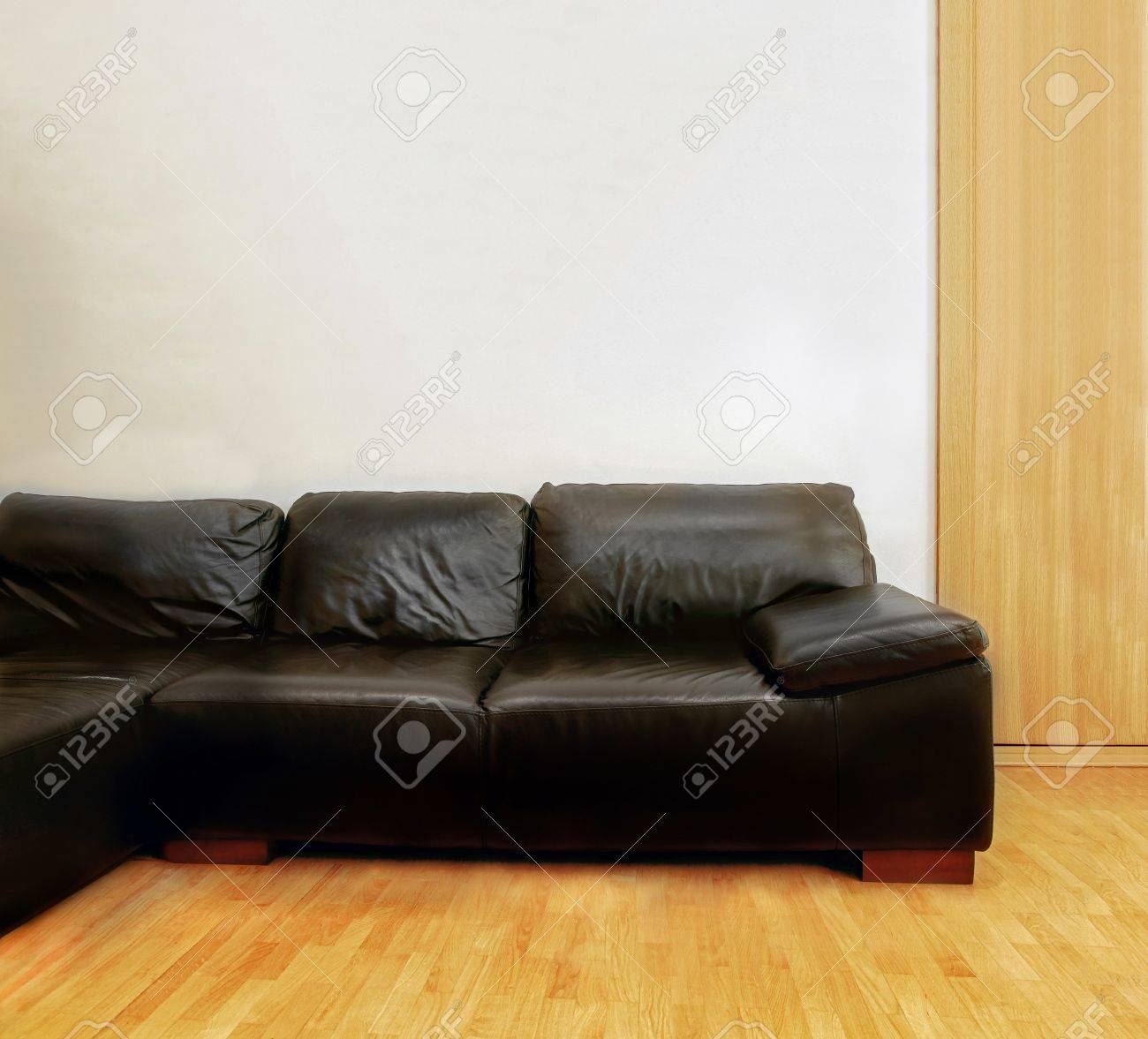 Black leather couch in modern interior with wooden floor and gray wall for copyspace Stock Photo - 17153535