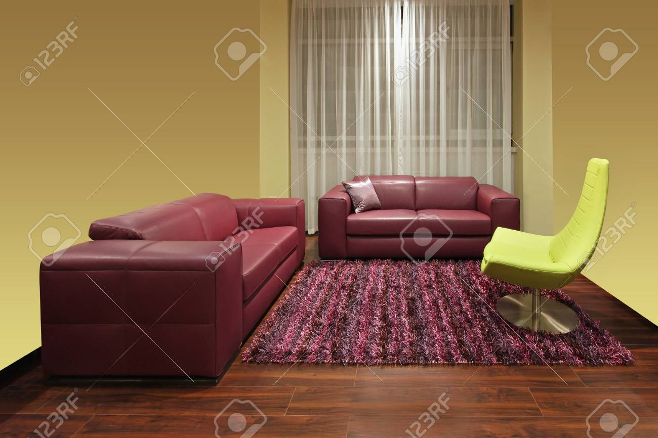 Fabulous Living Room Interior With Dark Red Leather Furniture Creativecarmelina Interior Chair Design Creativecarmelinacom