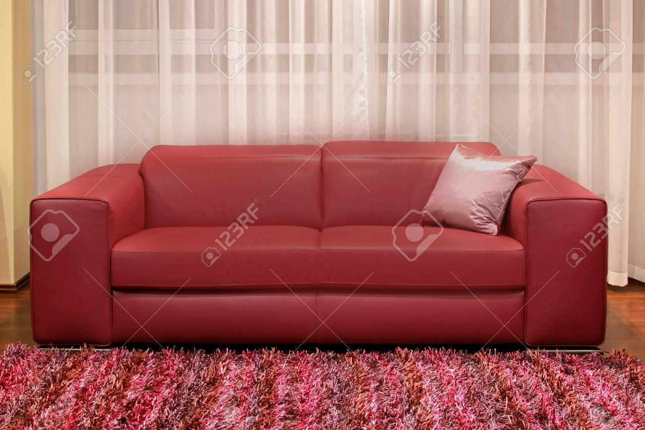 Modern burgundy leather couch in living room interior