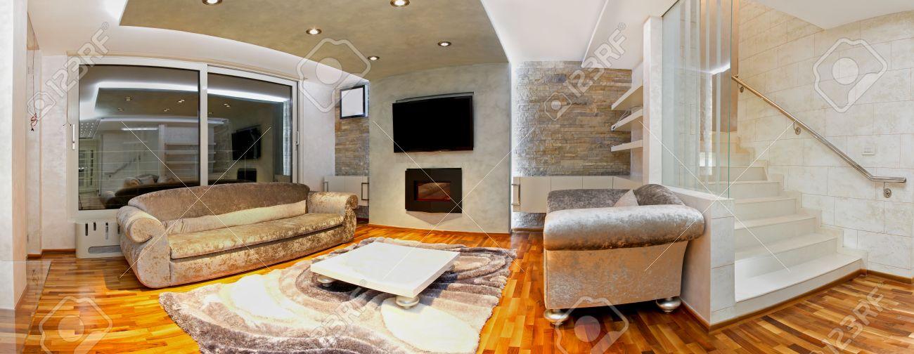 Moderne Große Luxus Wohnzimmer Inneneinrichtung Standard Bild   24945725