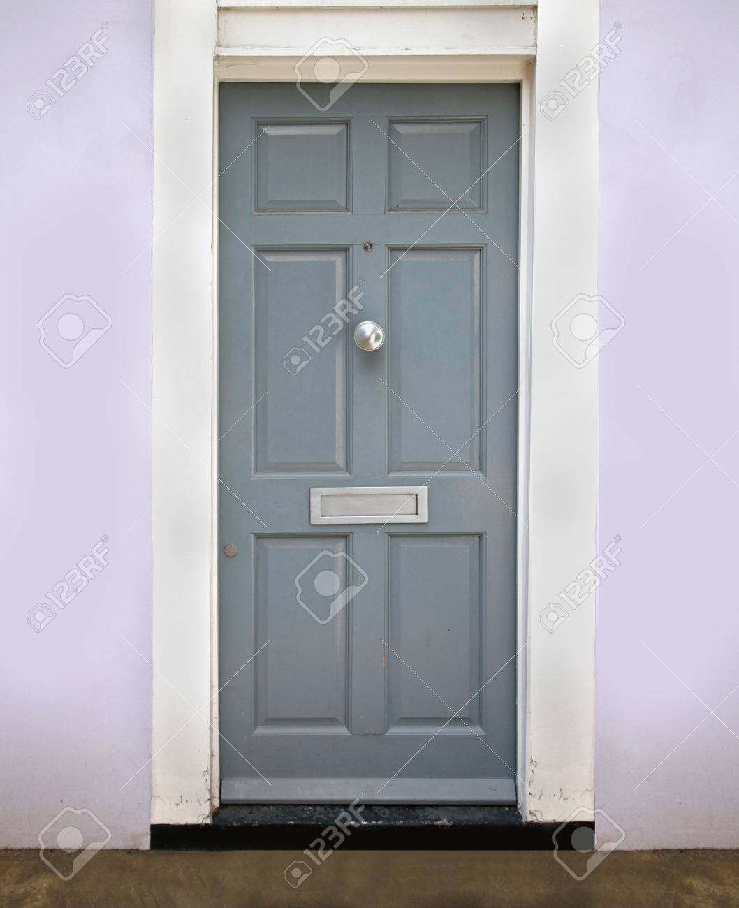 Retro gray closed entrance door with silver letterbox Stock Photo - 30943256 & Retro Gray Closed Entrance Door With Silver Letterbox Stock Photo ...