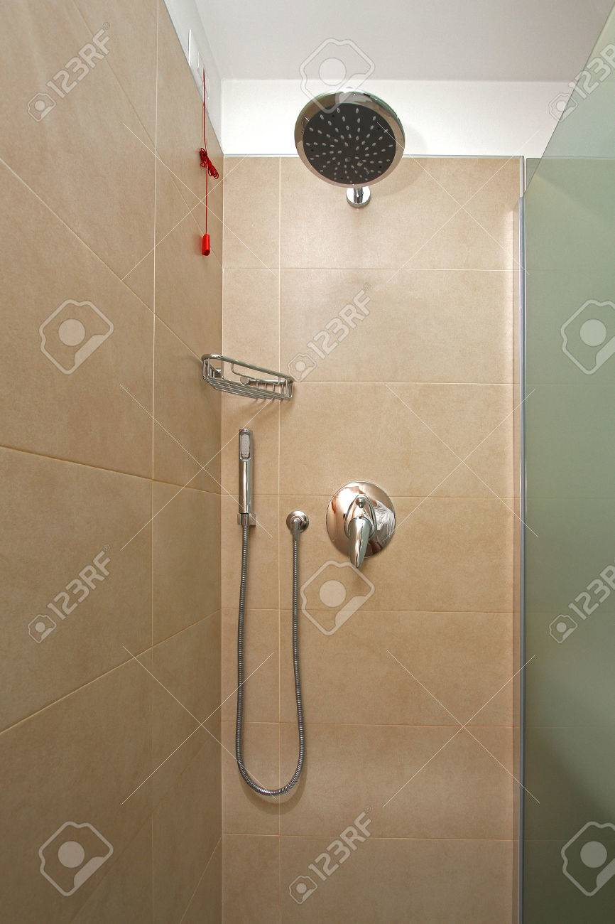 Inside Modern Shower Cabin With Contemporary Fixtures Stock Photo ...