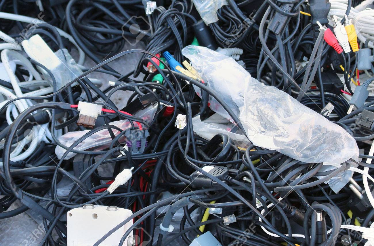 big pile of tangled messy data cables stock photo picture and