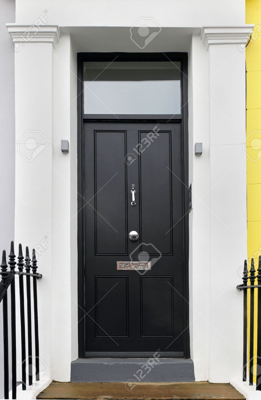 Black Wooden Closed Entrance Front Door Detail Stock Photo   39379759