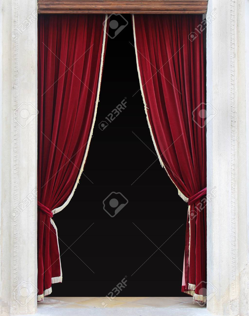 Red Velvet Curtains On Entrance Door Sides Stock Photo