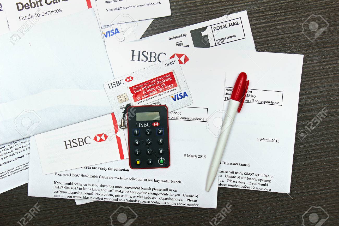 London, UK - April 14, 2015: HSBC Visa Debit Card Activation.. Stock ...