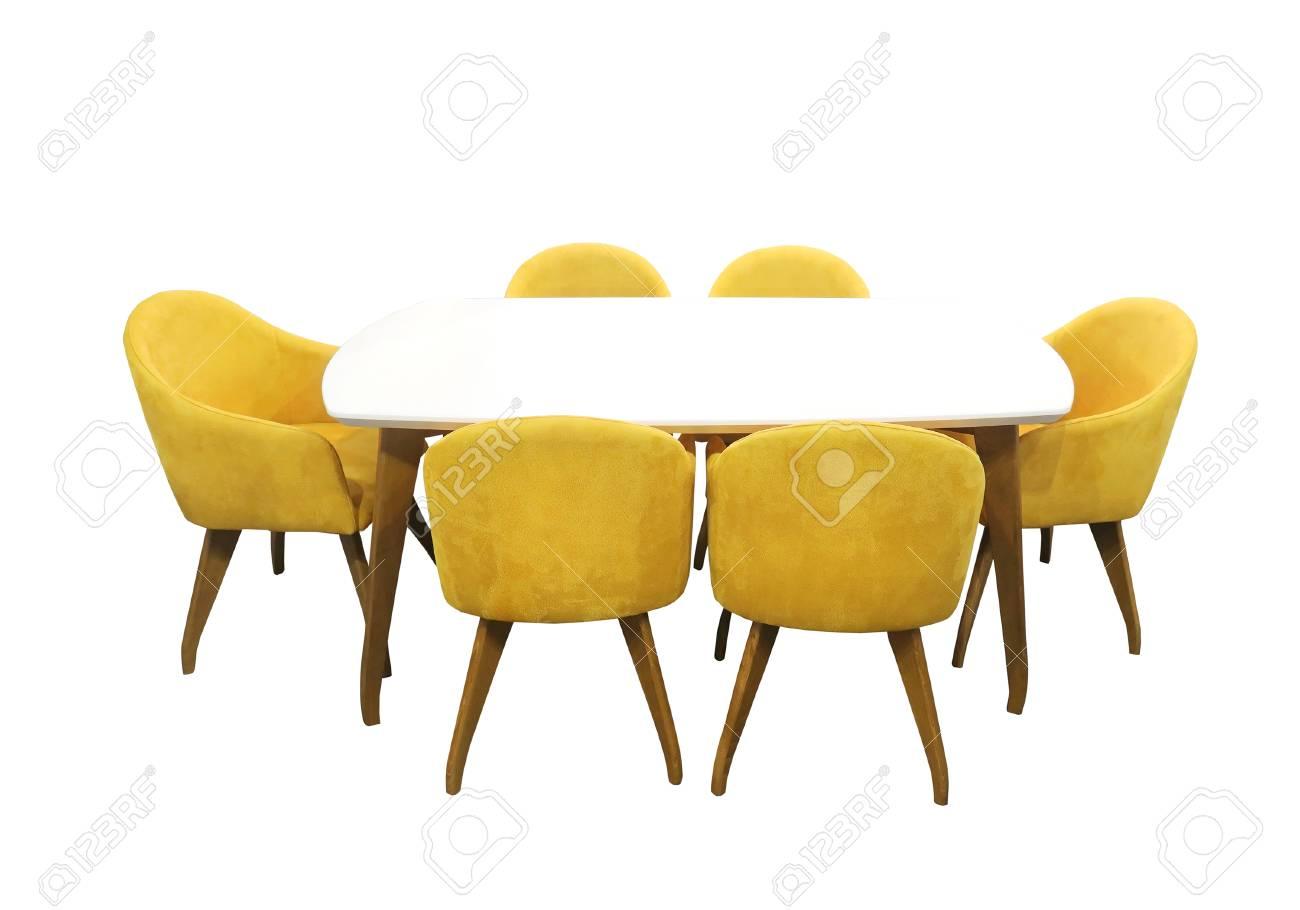 Eettafel Met Zes Stoelen Te Koop.Moderne Eettafel Met Zes Stoelen Geisoleerd Met Uitknippad Opgenomen
