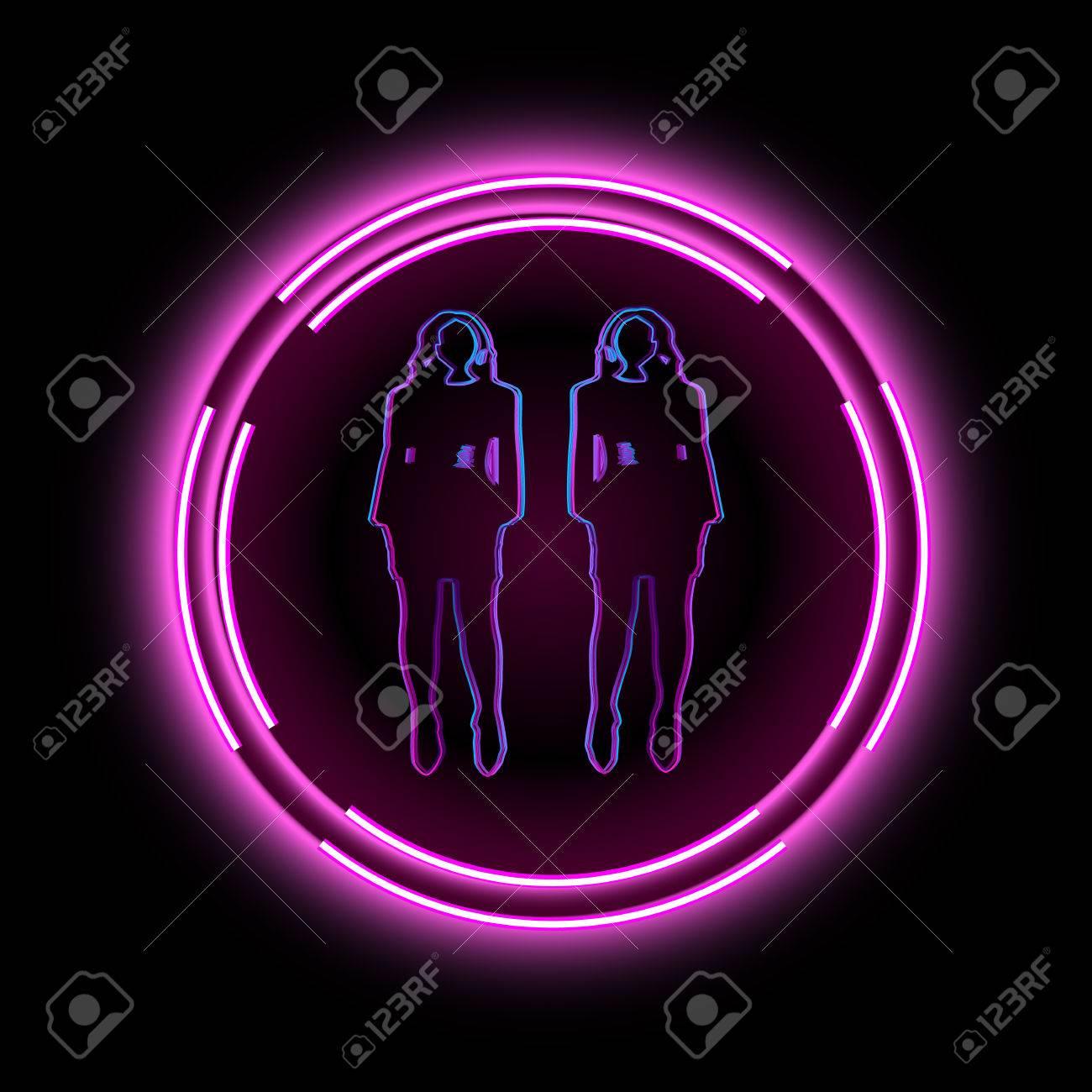 Neon-Rahmen Mit Einer Silhouette Von Frauen. Kann Für Die Bar, Disco ...