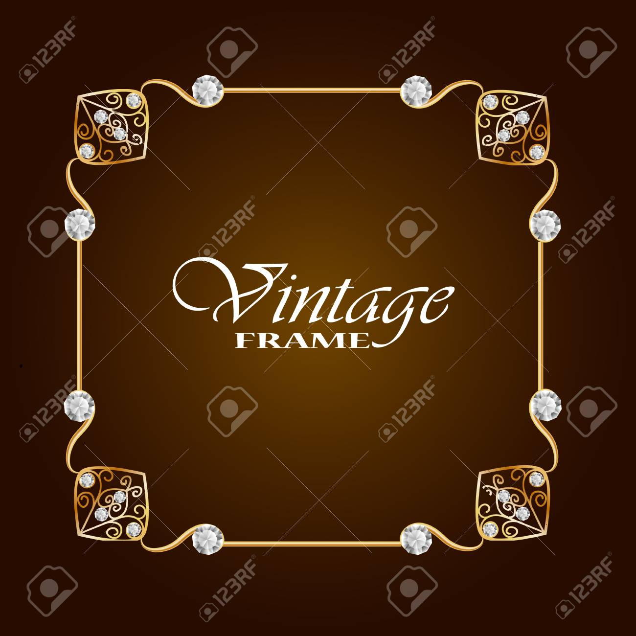 Gold Frame With Diamond Vintage Frame Round Frame With Flowers Jewelry Frame Vector Frame Can Use For Greeting Card Or Invitation Template