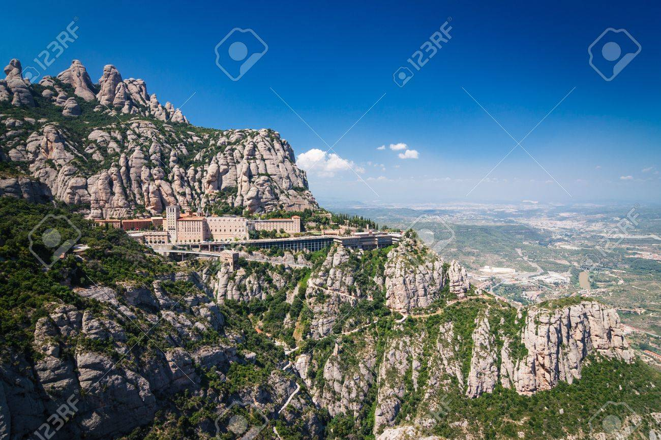 A mountain view with monastery on the top in Montserrat, Spain Stock Photo - 15482900