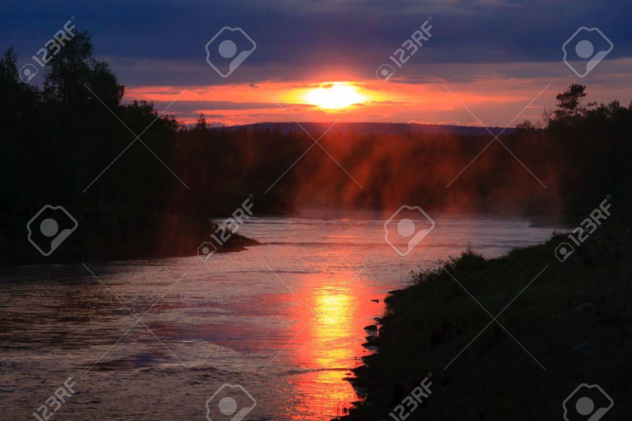 Steaming river in Lapland in Finland Stock Photo - 17070306