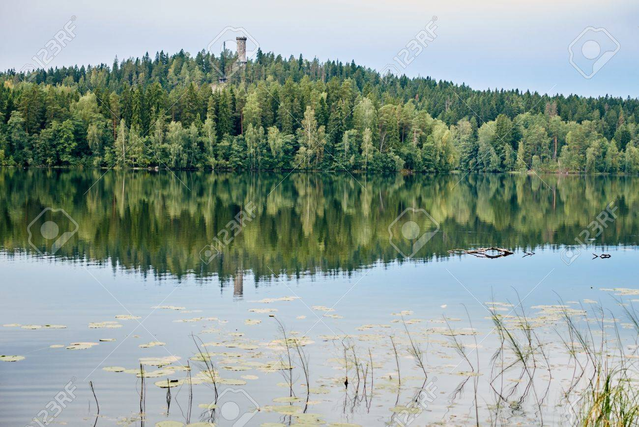 Summer landscape at Aulanko nature park in Finland. Reflection of the scene and the lookout tower in the still water of the lake Stock Photo - 76839883