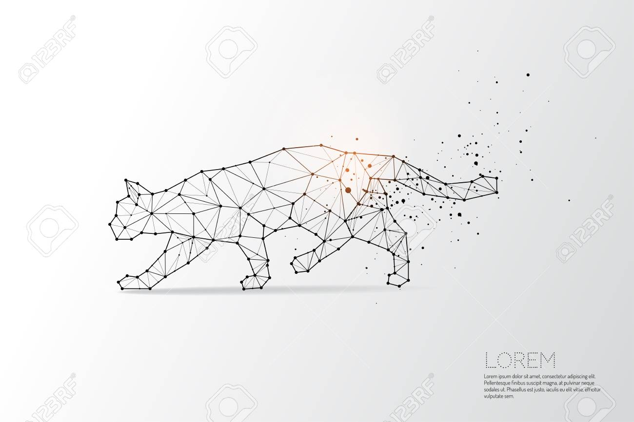 The Particles Geometric Art Line And Dot Of Cat Movingabstract