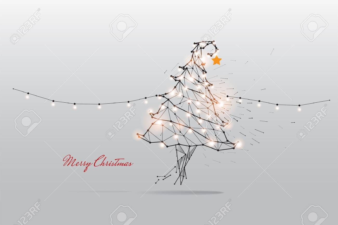 The particles, geometric art, line and dot of Merry Christmas. - 89266313