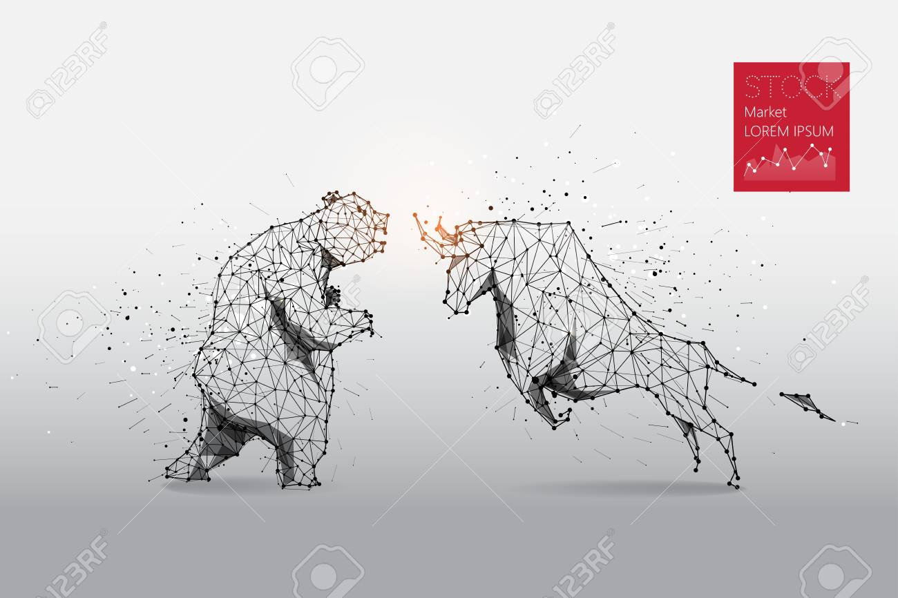 The particles, geometric art, line and dot of bear and bull abstract. Graphic design concept of stock market. - 91126766