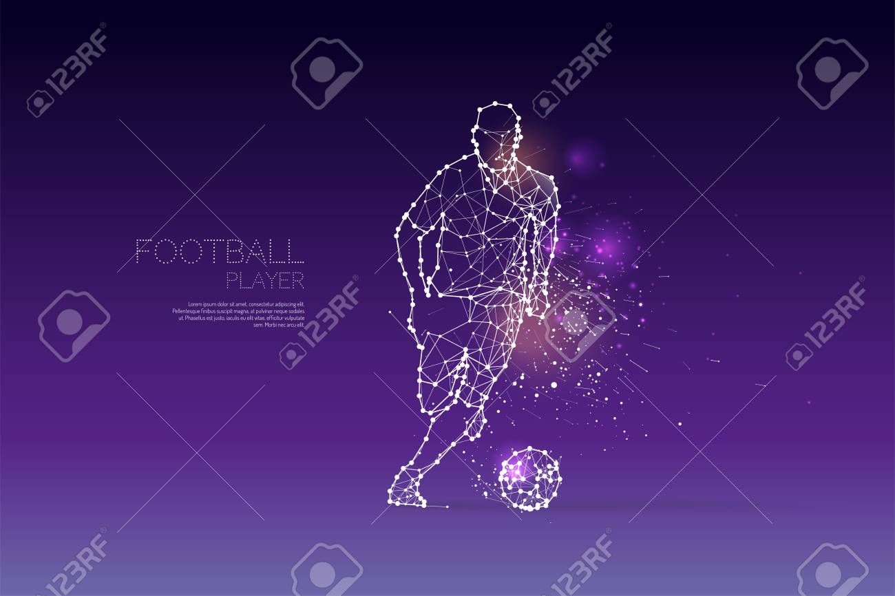 The particles and line dot of football player motion. Vector illustration. - 96087201