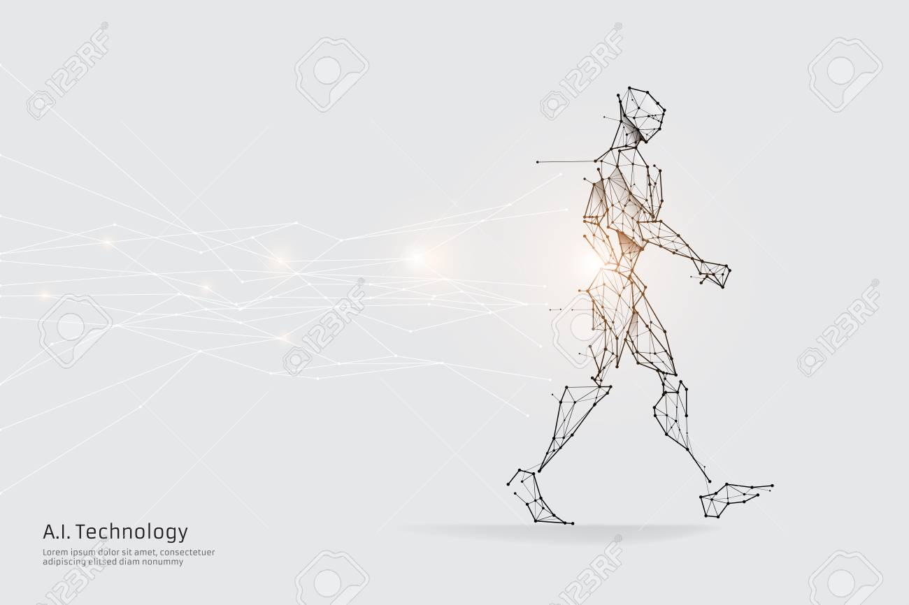 The particles, geometric art, line and dot of walking.abstract vector illustration. graphic design concept of future.- line stroke weight editable - 125985723