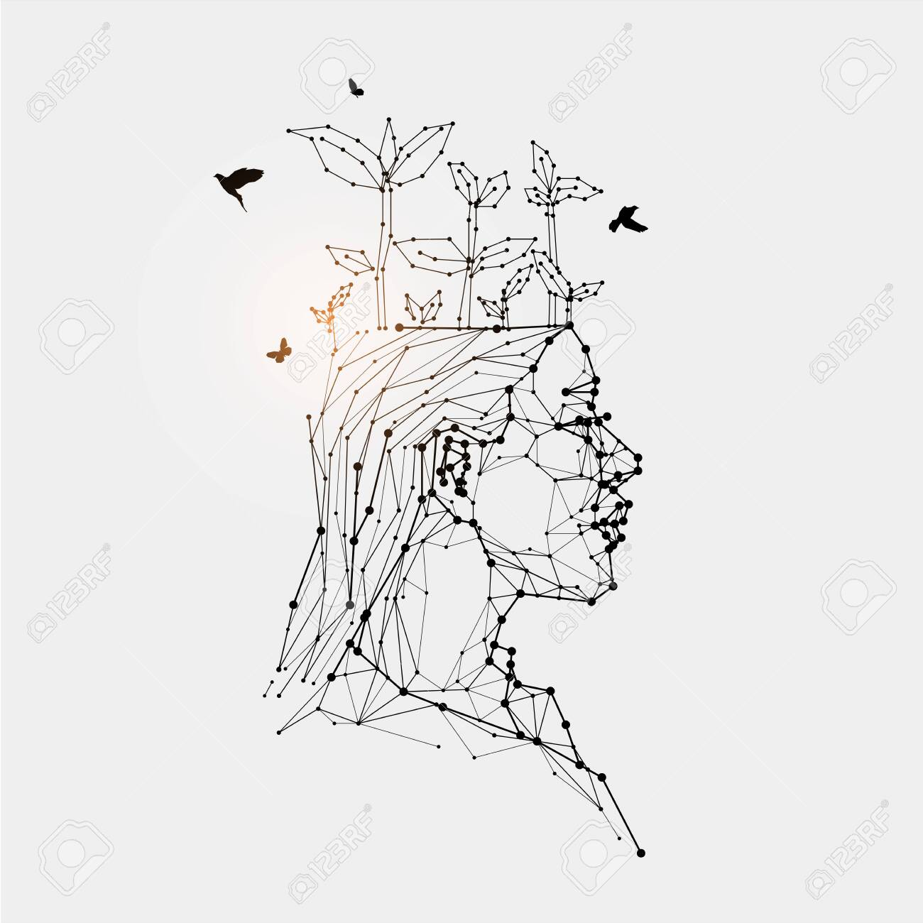 The Particles Geometric Art Line And Dot Of Human Head Abstract