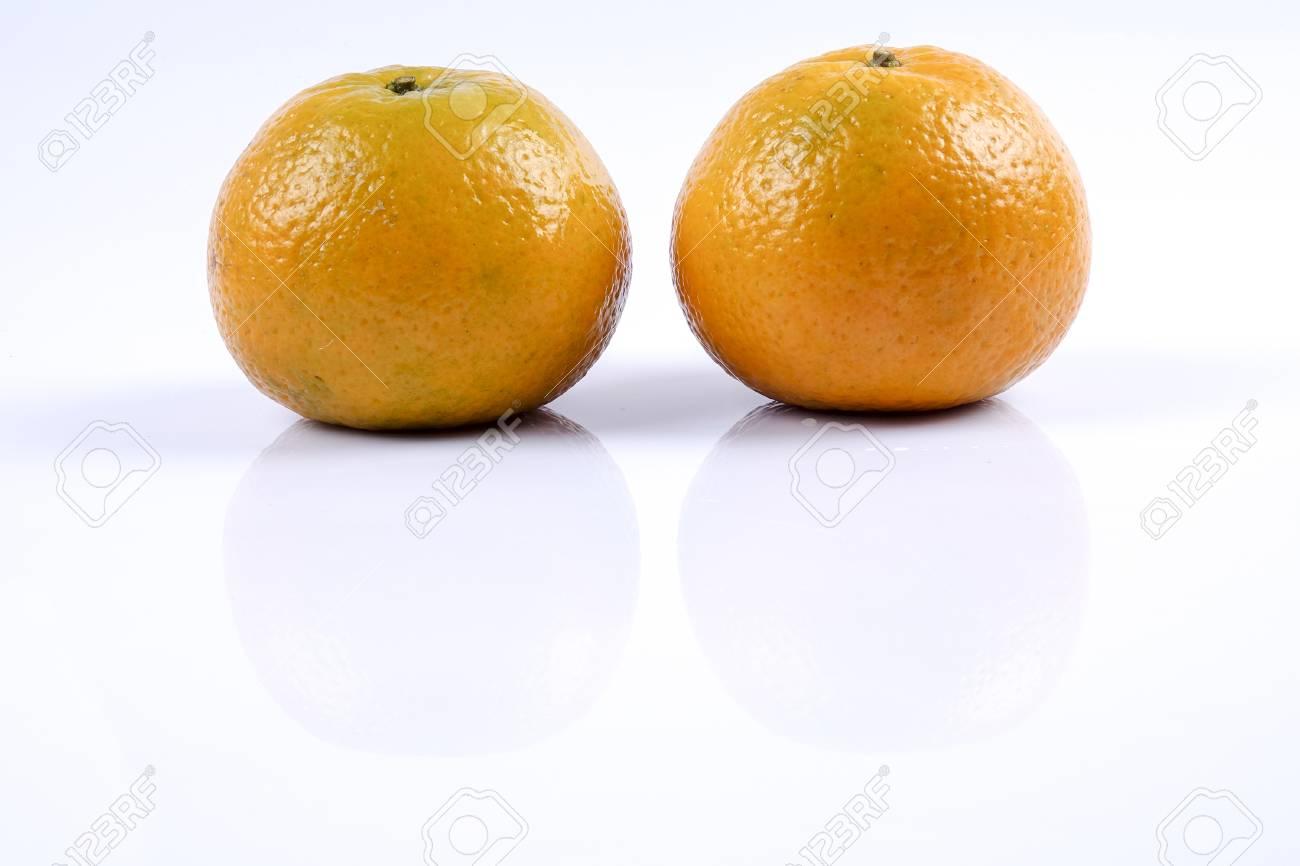 Mandarin orange citrus fruit isolated on white background. - 85021990