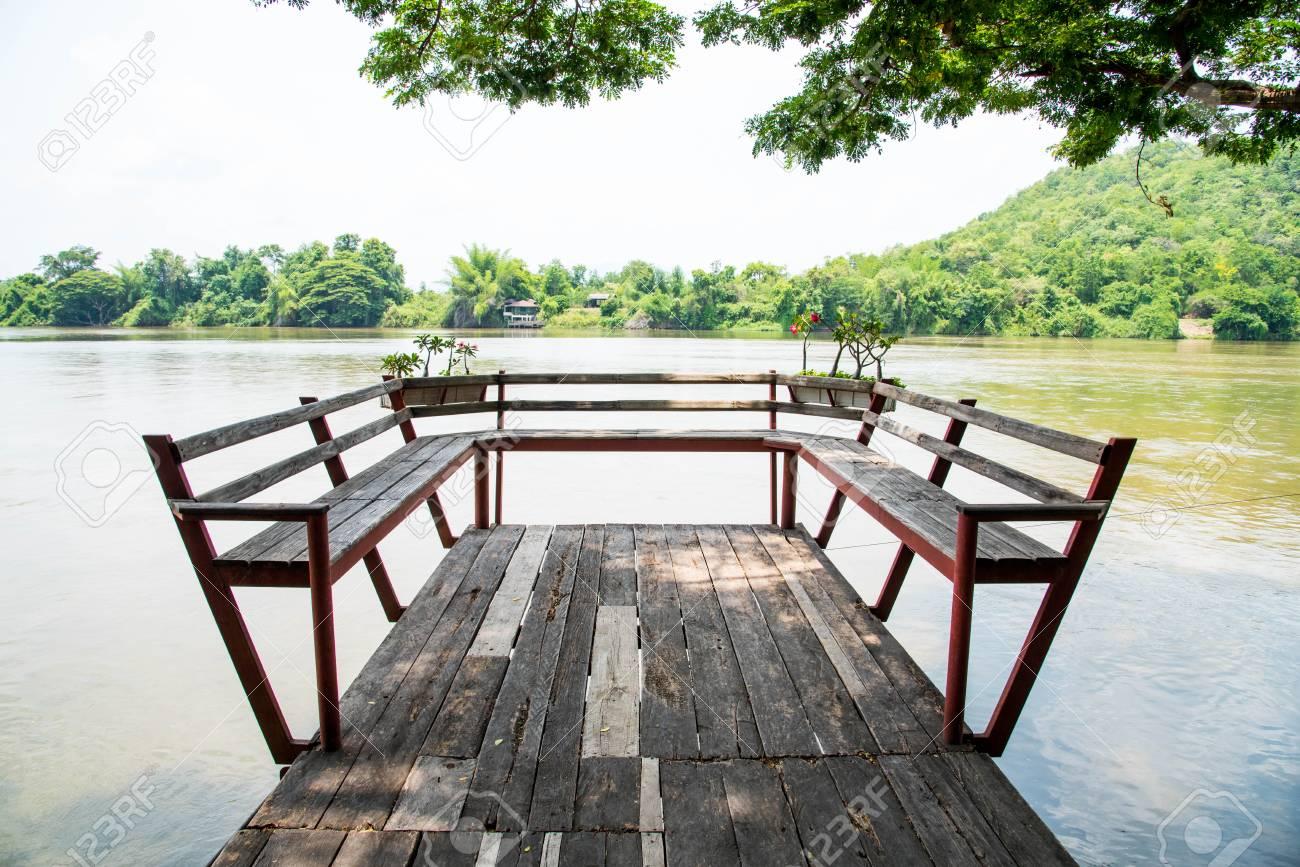Wooden Terrace On The Riverside