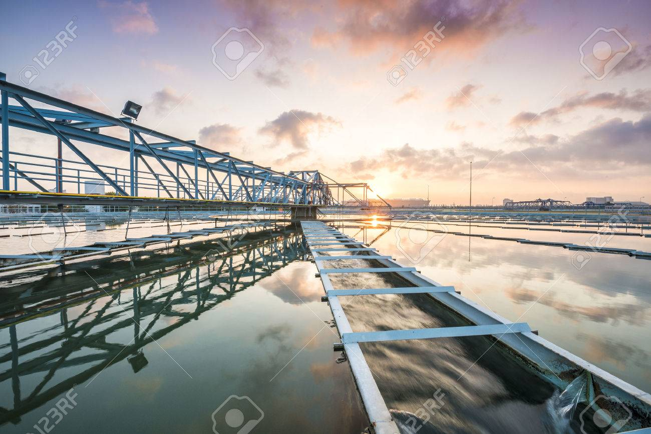 The Solid Contact Clarifier Tank type Sludge Recirculation process in Water Treatment Plant with Sun Rise - 50103249