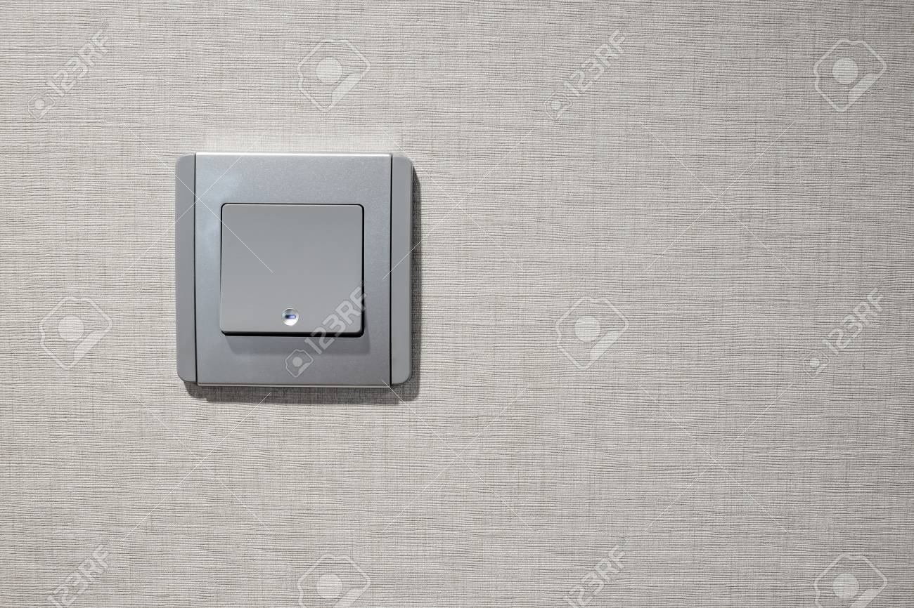 Gray Modern Light Switch (electrical) With Fabric Texture Wall ...