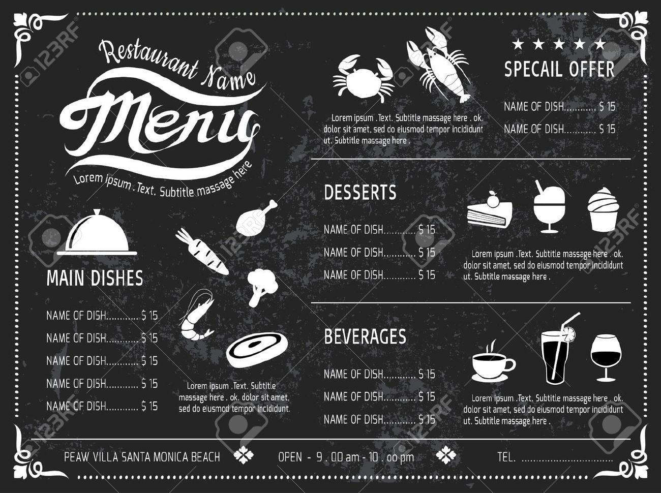 Vector Plantilla De Menú Diseño Pizarra De Restaurante Ilustraciones ...