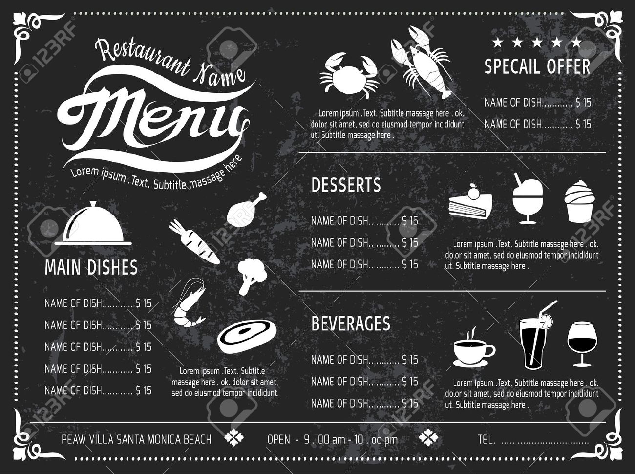vector template design chalkboard menu for restaurant royalty free