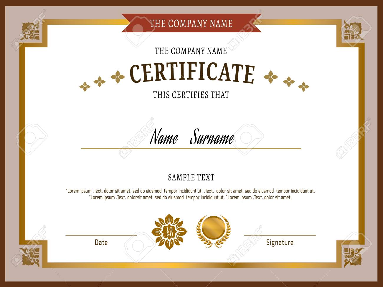 Gold Certificate Template Vector Illustration Royalty Free Cliparts