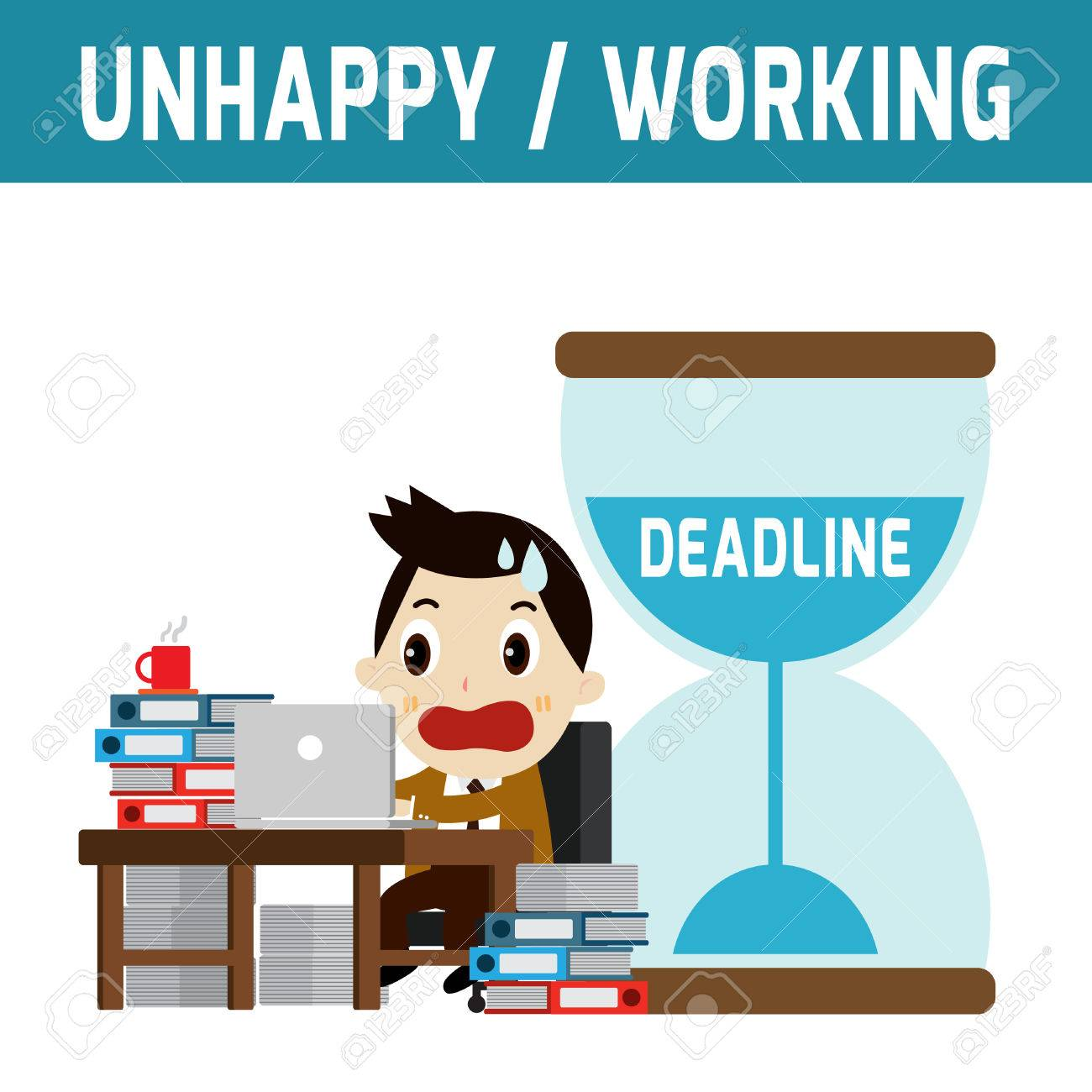 unhappy businessman working job deadline modern design flat vector unhappy businessman working job deadline modern design flat character isolated on white background graphic vector illustration business concept