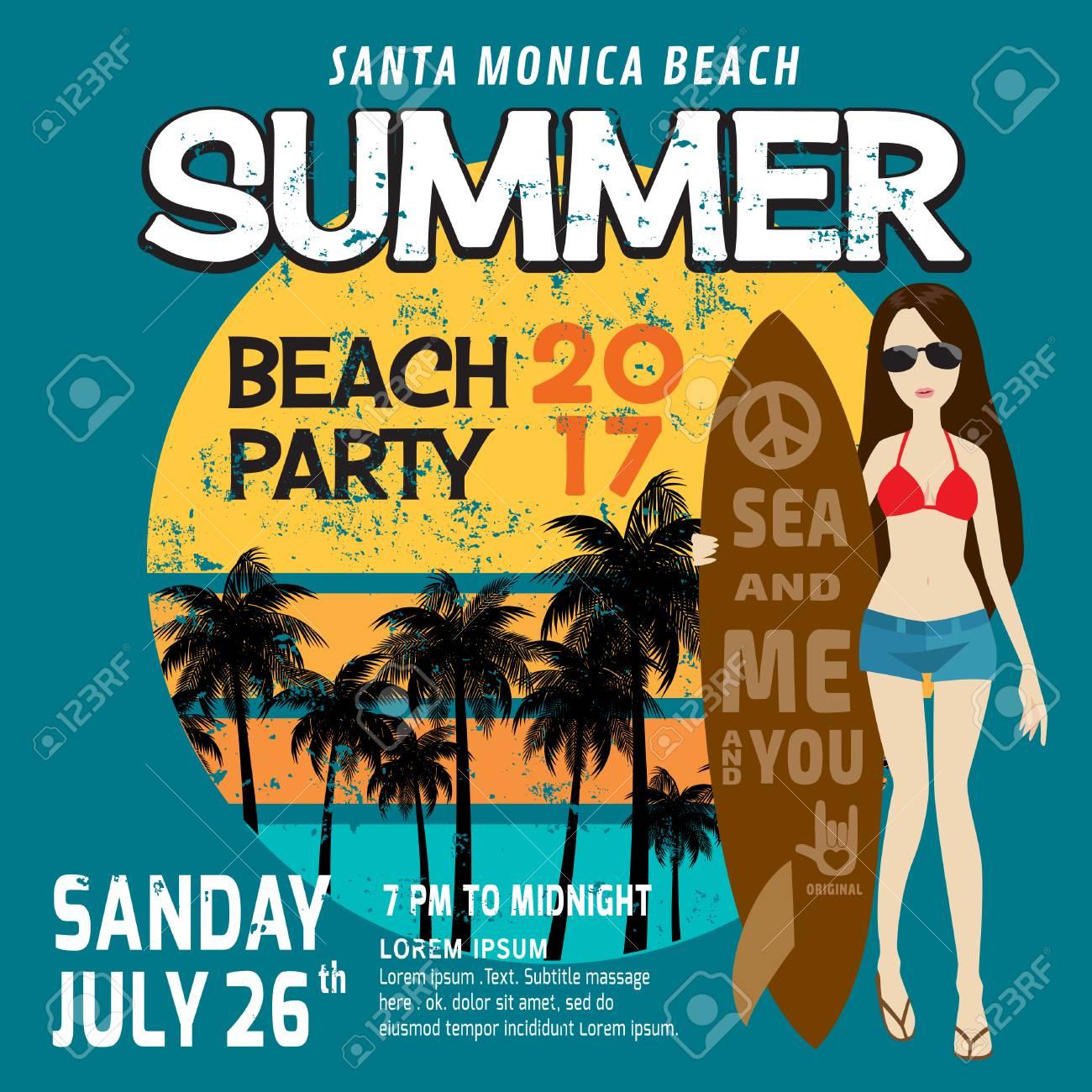 Summer Party Flyer Template Poster Brochurector Illustration