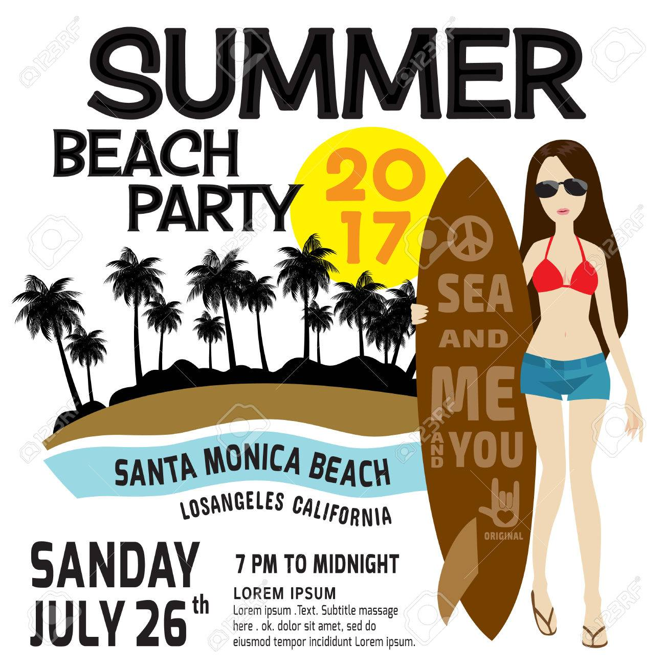 Summer Party Flyer Template. Poster, Brochure.vector Illustration ...