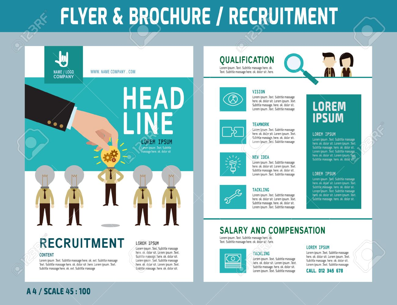 recruitment flyer design vector template in a4 size brochure