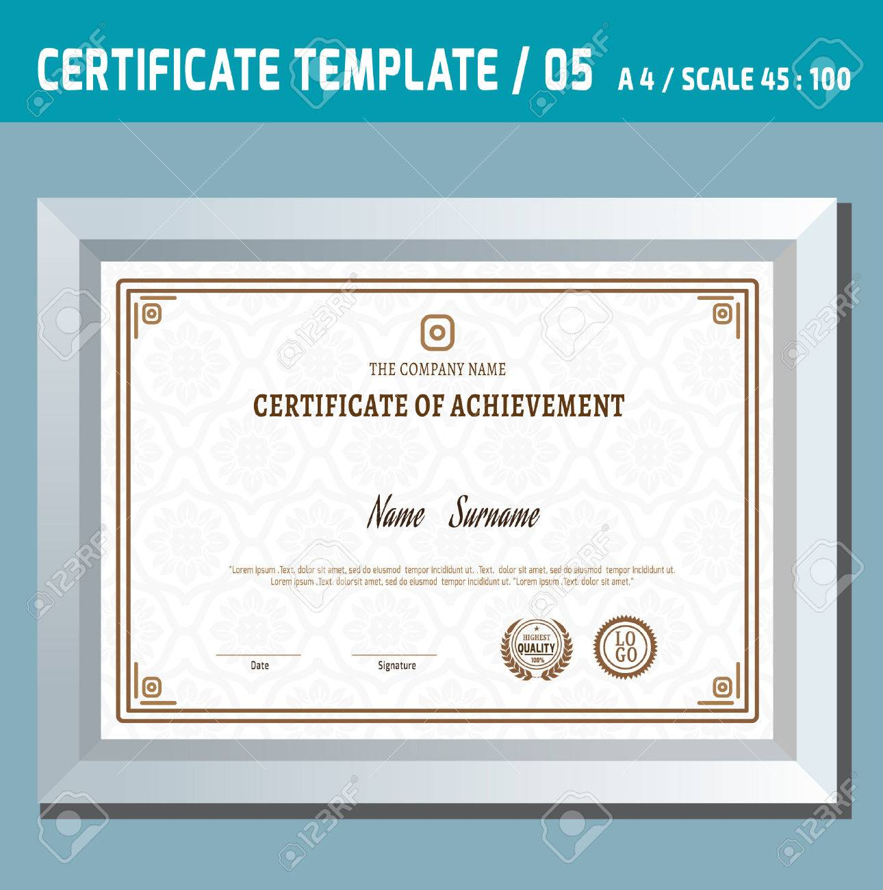 Certificate templatea4ctor design templatentage retro certificate templatea4ctor design templatentage retro frame diploma background stock yadclub