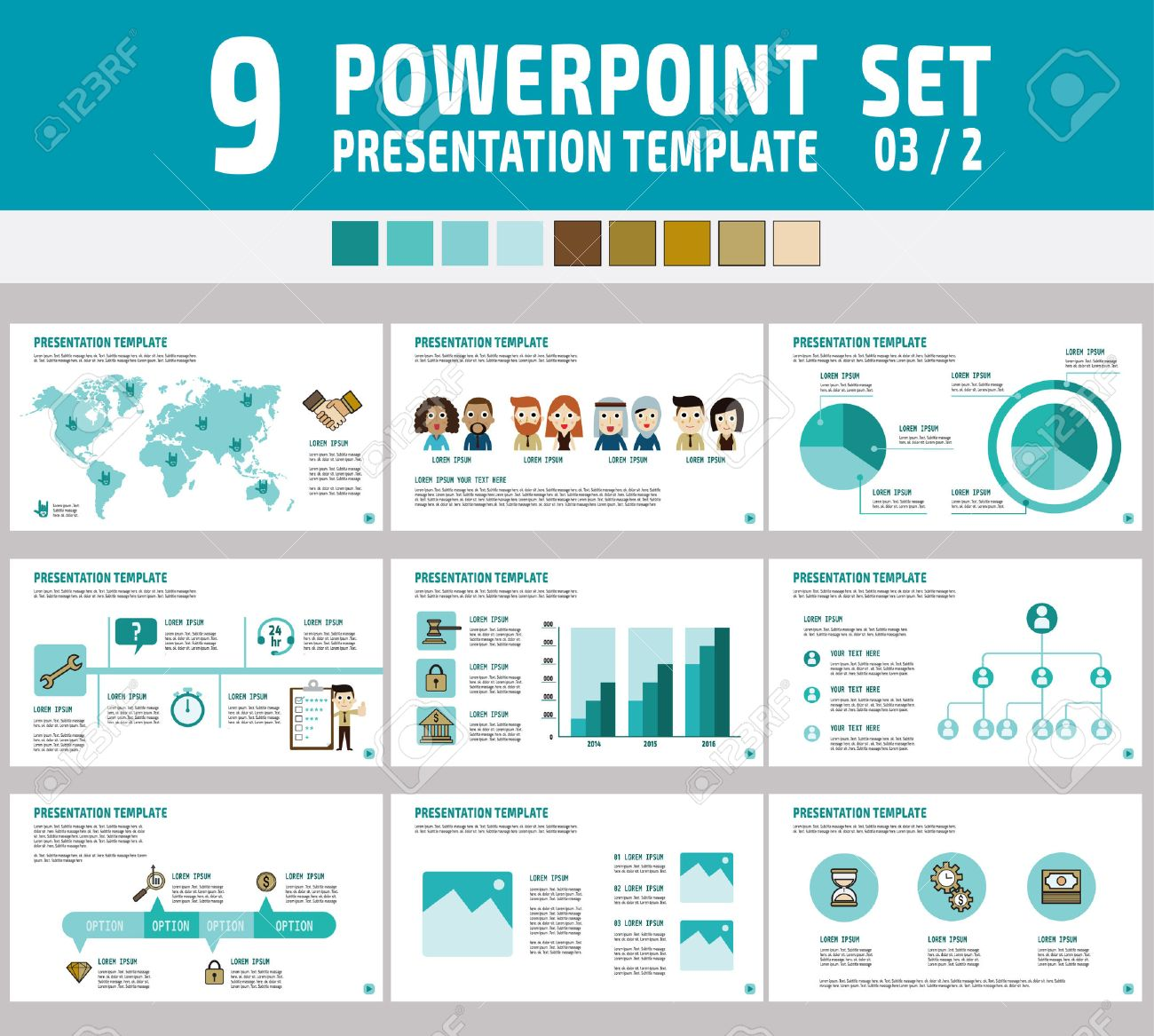 set of powerpoint multipurpose business presentation template, Modern powerpoint