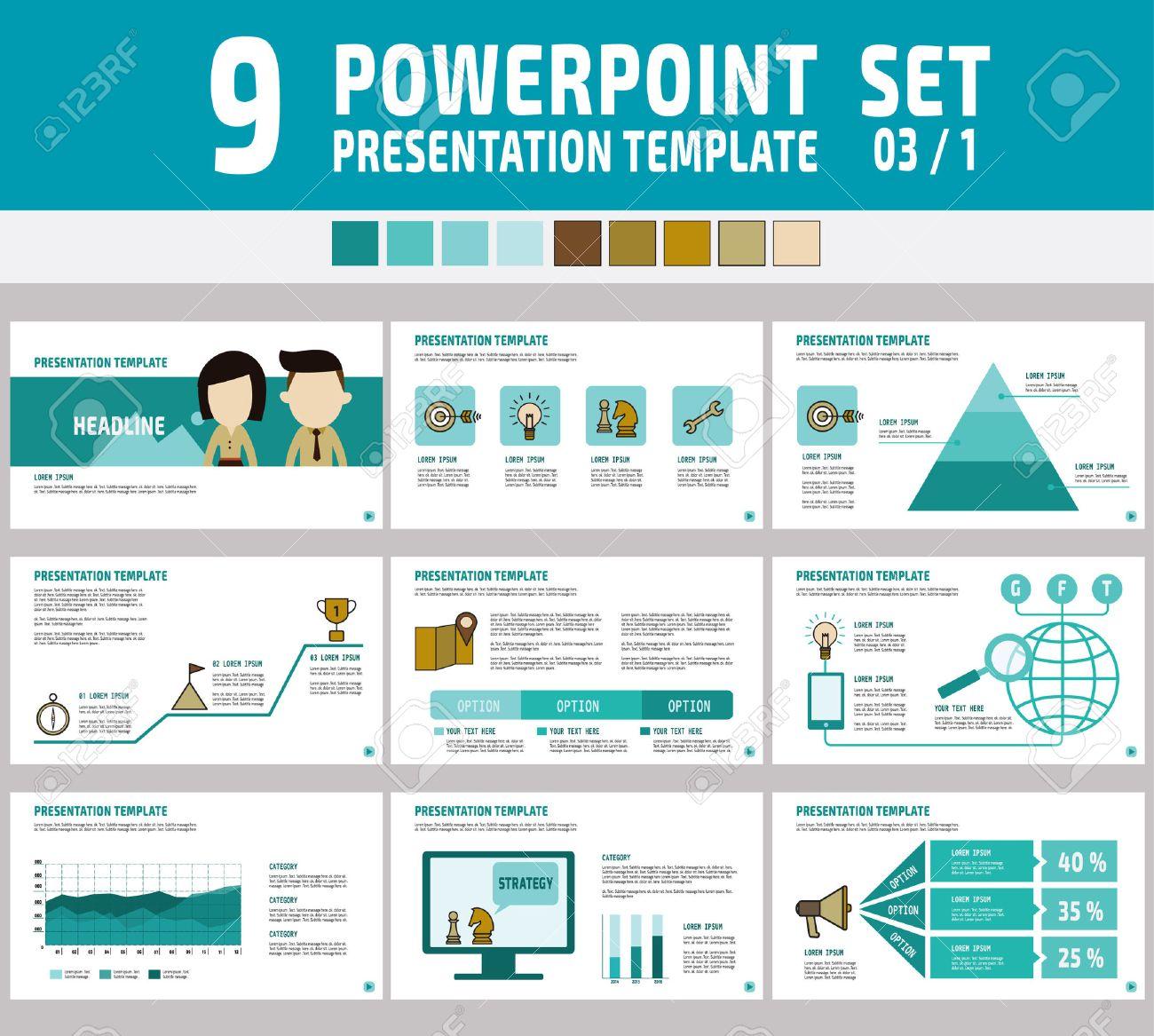 Ensemble De Présentation De L Entreprise Powerpoint Polyvalente Template Infographic Element Business Concept Flyer Mise Design Brochure Icônes