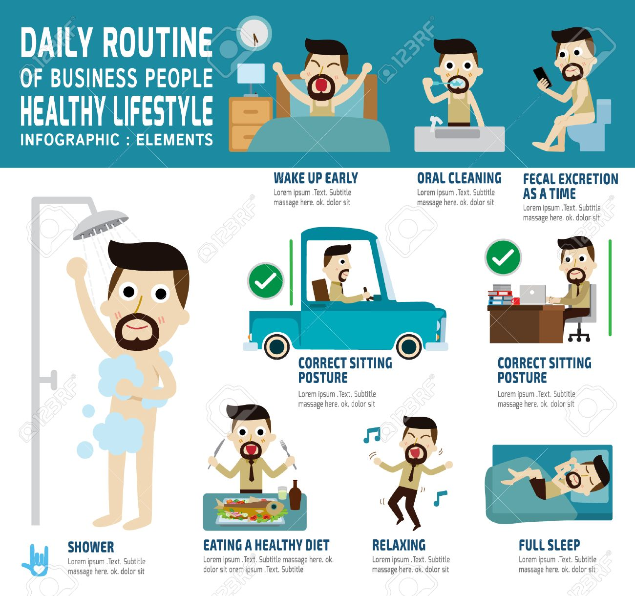 daily routine of happy business people infographic element health