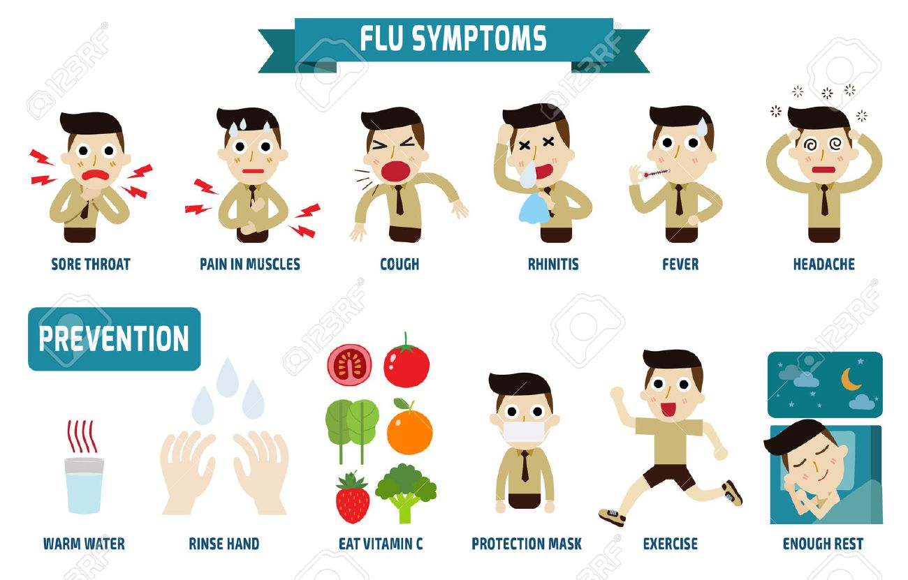 flu symptoms and influenza health concept infographic element vector