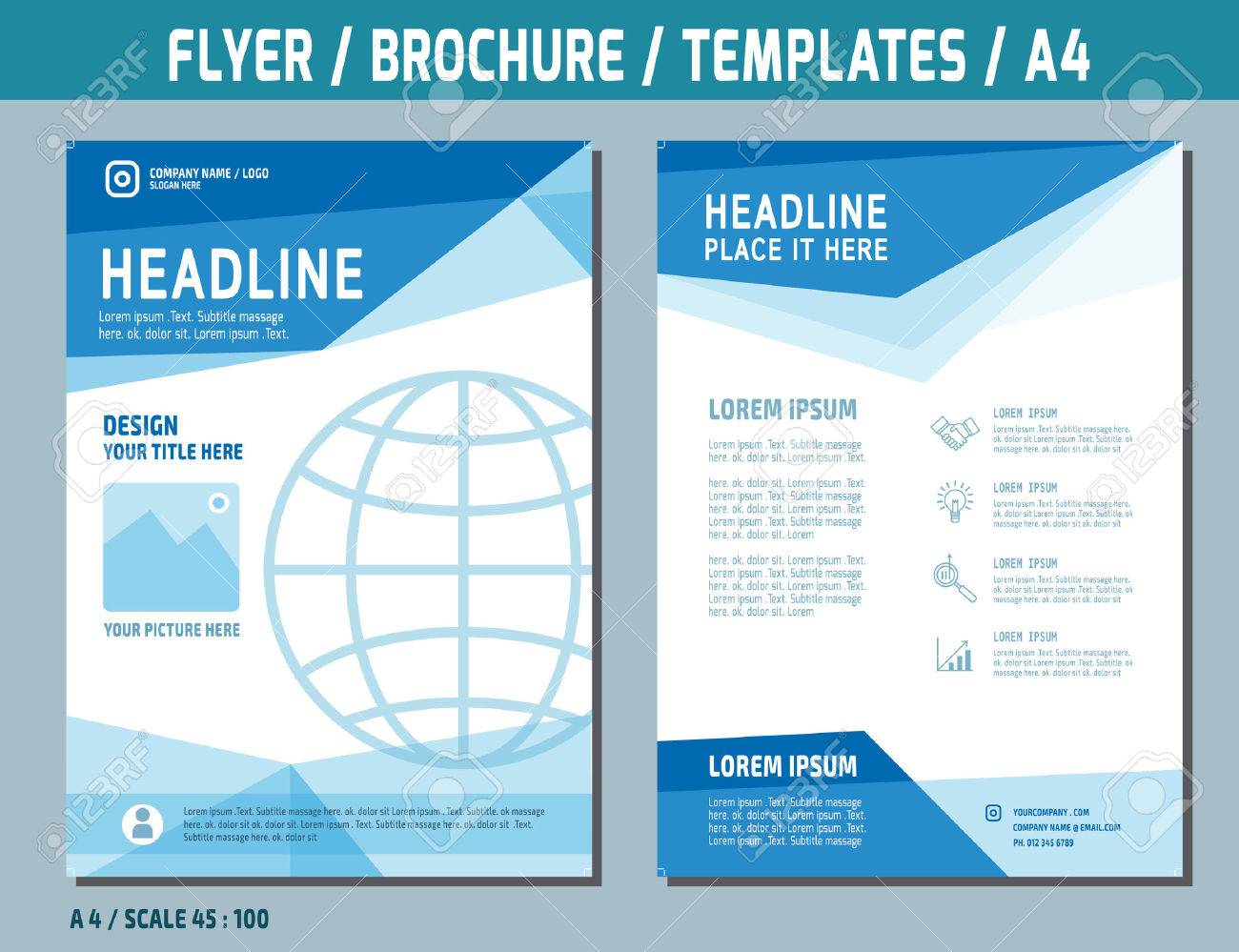 Flyer Design Vector Template In A4 Size.brochure Booklet Cover ...
